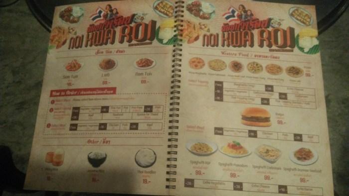 タイ料理屋「Noi Kwa Roi Bar & Restaurant」メニュー