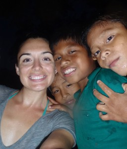 Lauren with some young Nogbe kids.