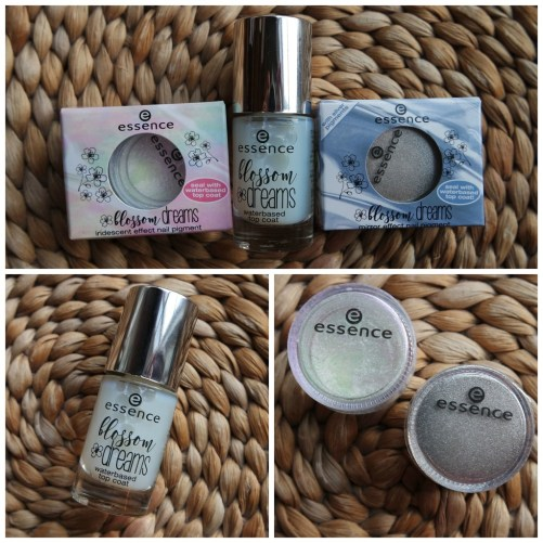 essence blossom dreams limited edition spring review swatch rainbow highlighter eyeshadow palette nail effect pigment
