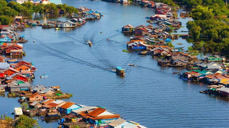 Aerial View of Kompong Phluk Floating Village