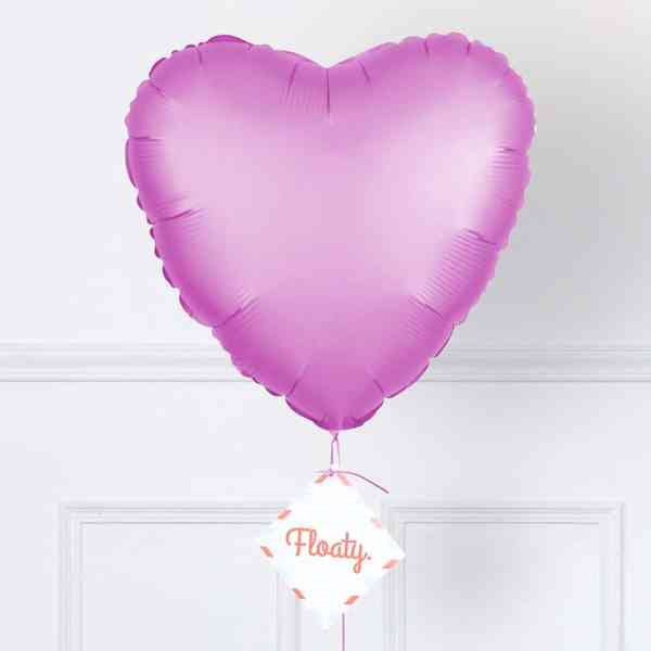 Herzluftballon satin rosa zoom