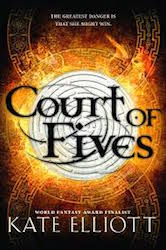 Cover of Kate Elliott's Court of FIves showing an elaborate labyrinth