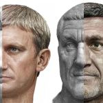AI assisted images of Roman emperors Augustus and Maximinus Thrax derived fromt heir statues