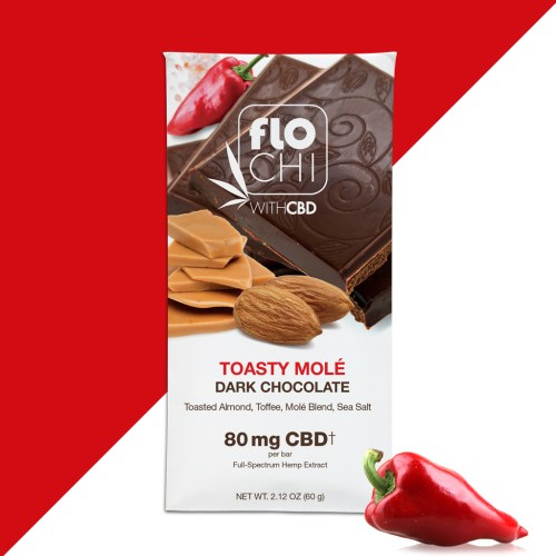 FloChi CBD Chocolate Bar Dark Chocolate Toasty Mole