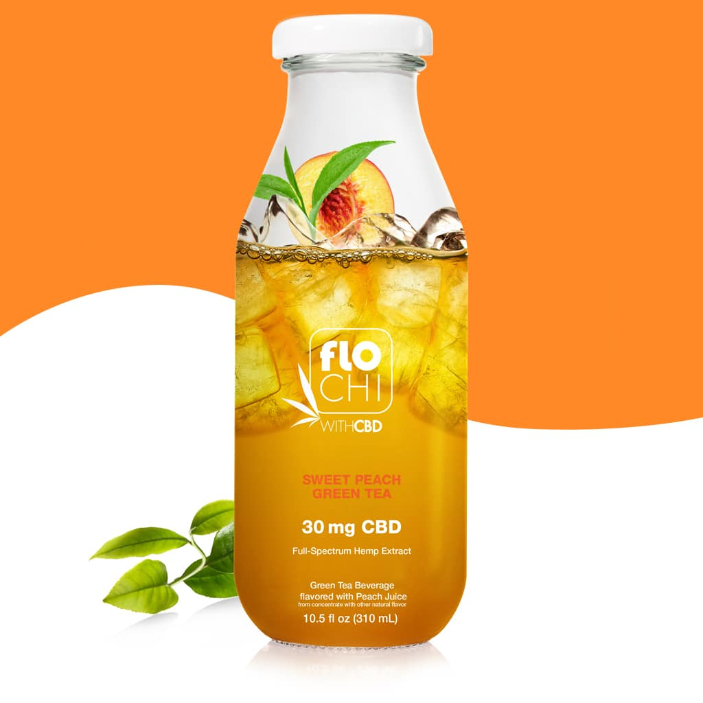 FloChi CBD Iced Tea Sweet Peach Green Tea Flavor