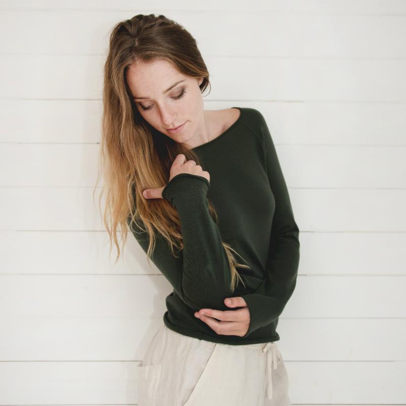 Phoebe Merino dark green jumper