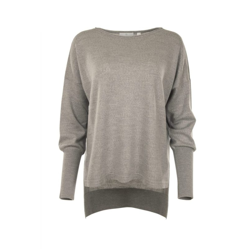 Eloise Merino Sweater in Grey. Front View