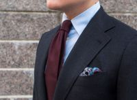 Burgundy Grenadine Tie with a Dark Grey Suit