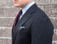 Burgundy Grenadine Tie with a Dark Grey Suit