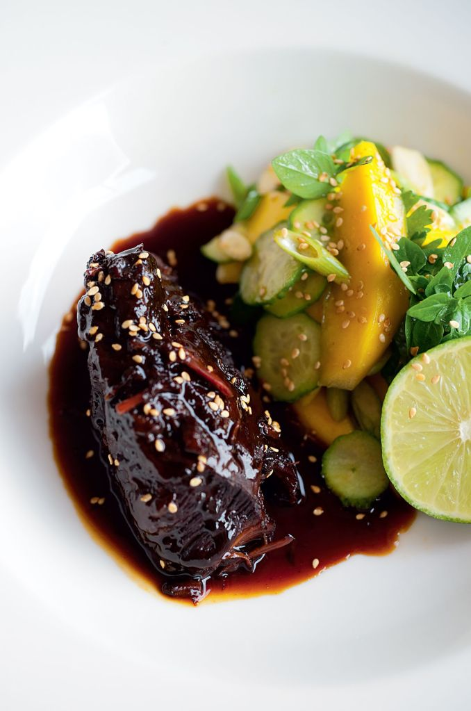 Sweet Soy Braised Beef Cheeks with Mango Salad - The Happy