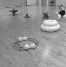In the making for flockOmania by jewellery artist Zoe Robertson with dance artist Natalie Garret Brown Dance Studio Aug 2014