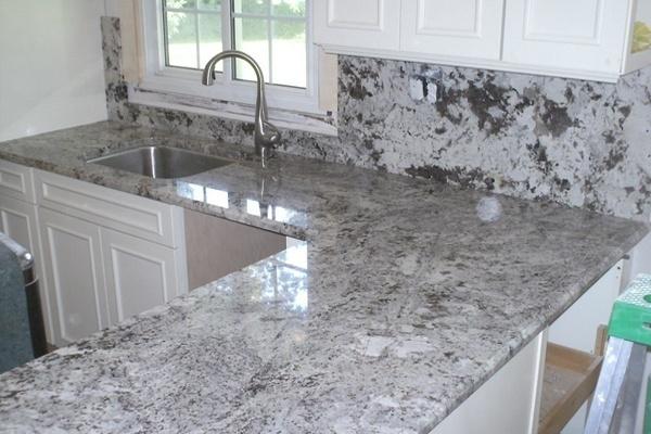 Alaska White Granite L Shaped Counter