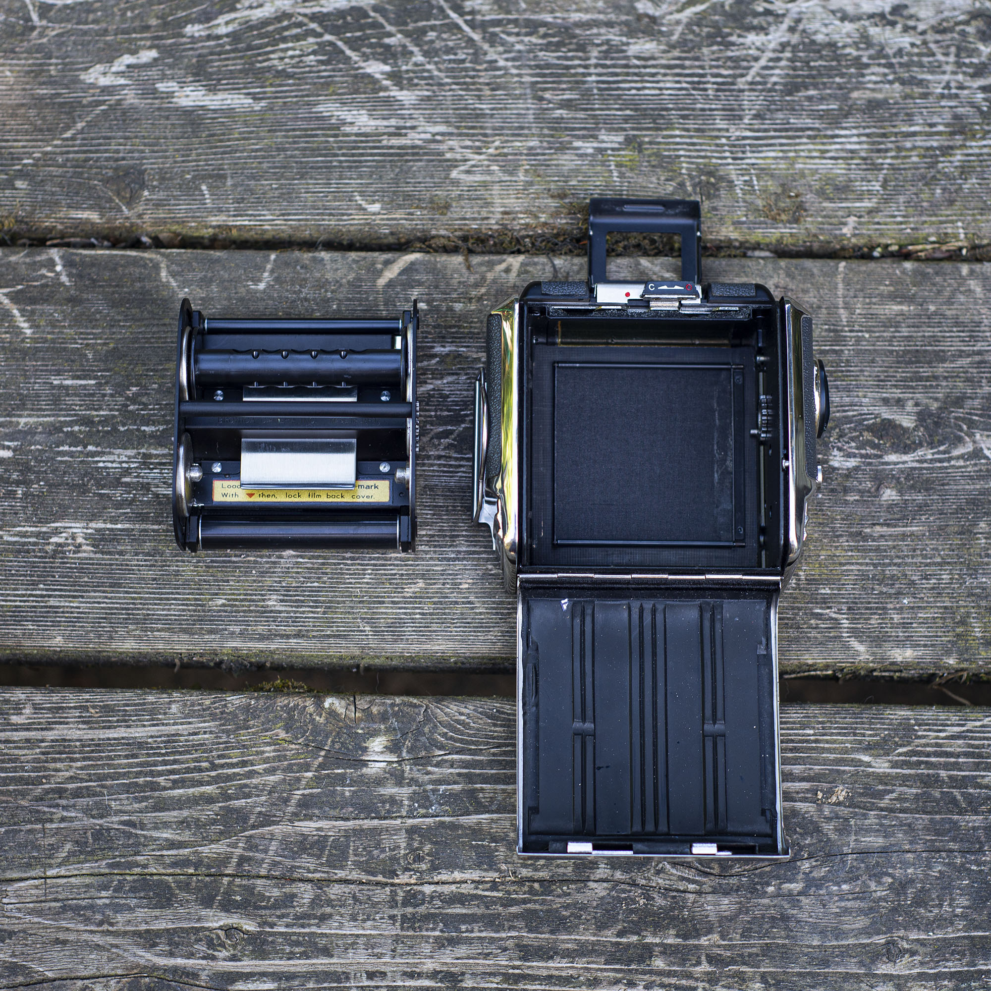 Bronica S2 fim back open with the film magazine out