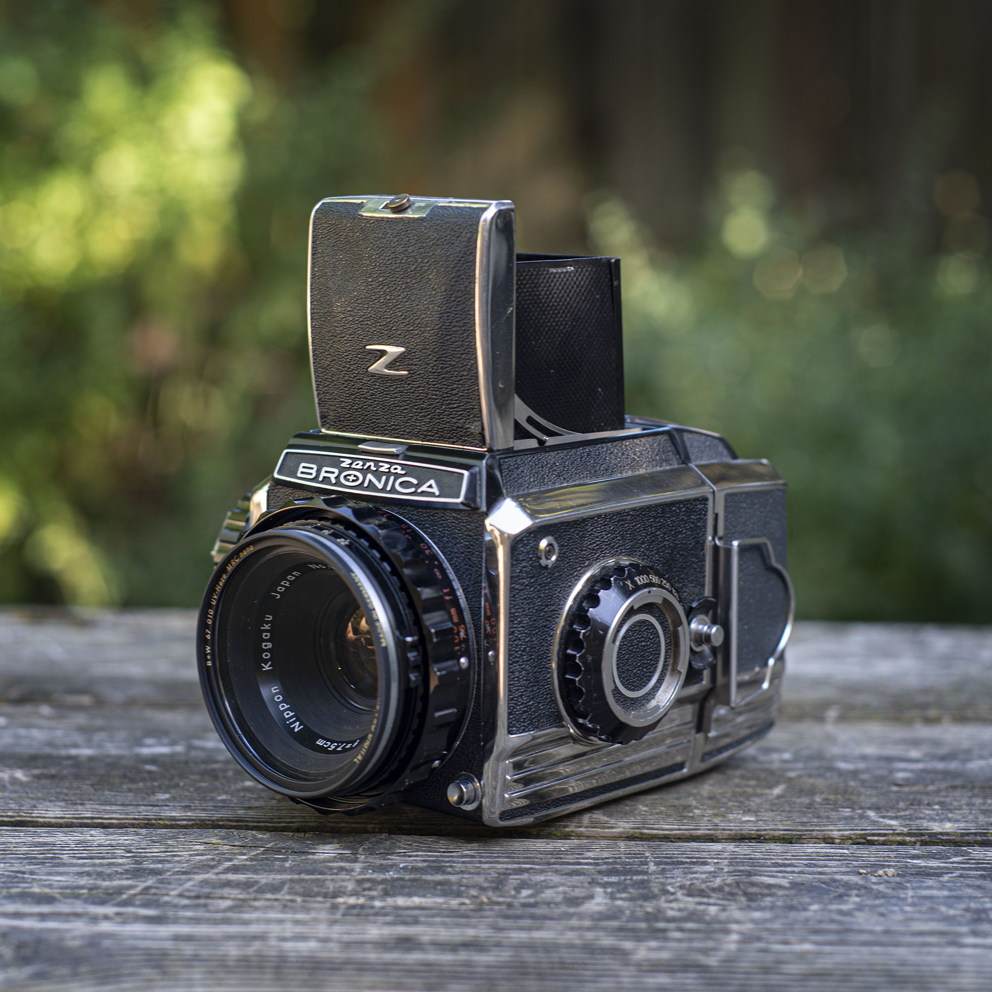 Bronica S2 left side with waist level finder open