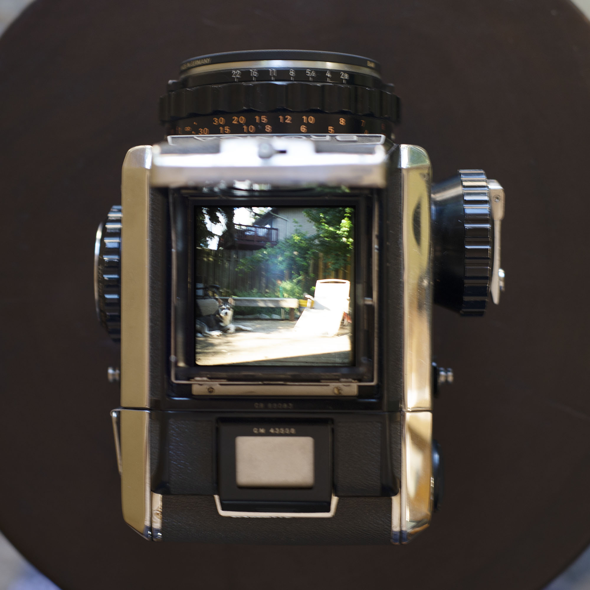Bronica S2 view through the waist level finder
