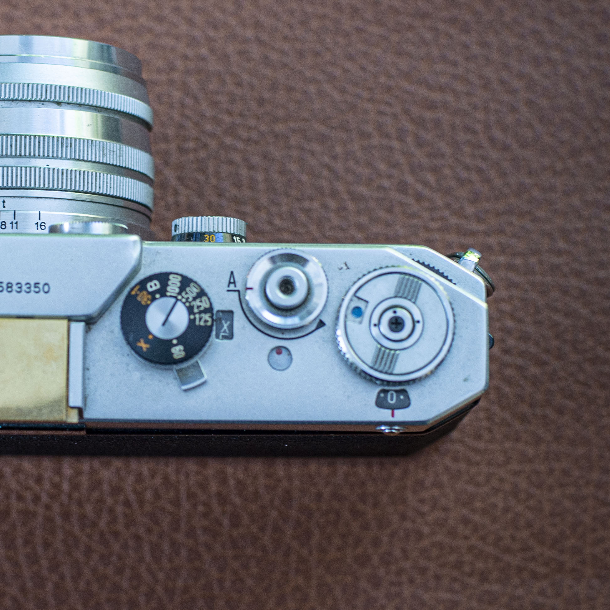 camera shutter release and control dials