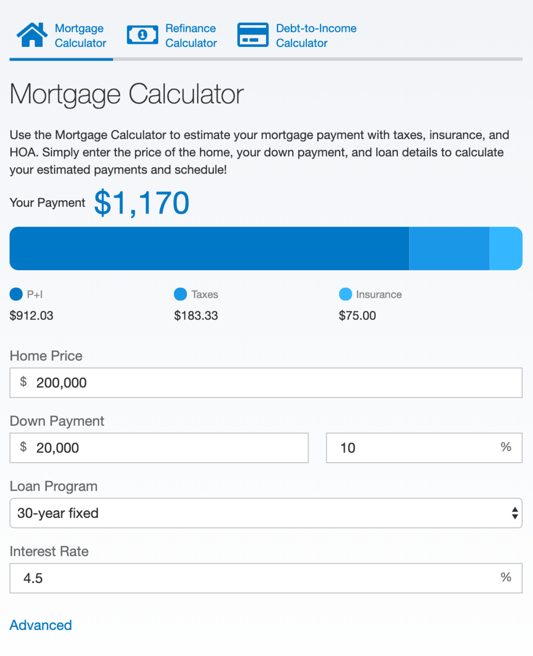 floify landing page mortgage refinance dti calculators