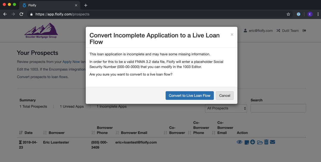 floify convert incomplete 1003 loan application to a live loan flow