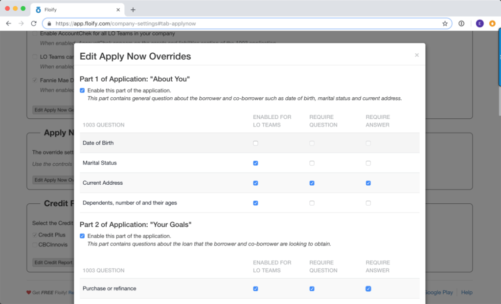 floify 1003 loan application override questions