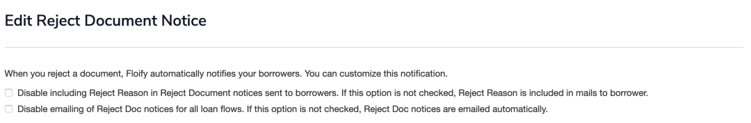 reject document notice setting