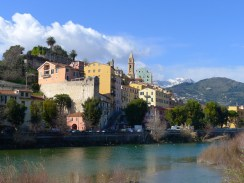 Old town Ventimiglia from the foot bridge