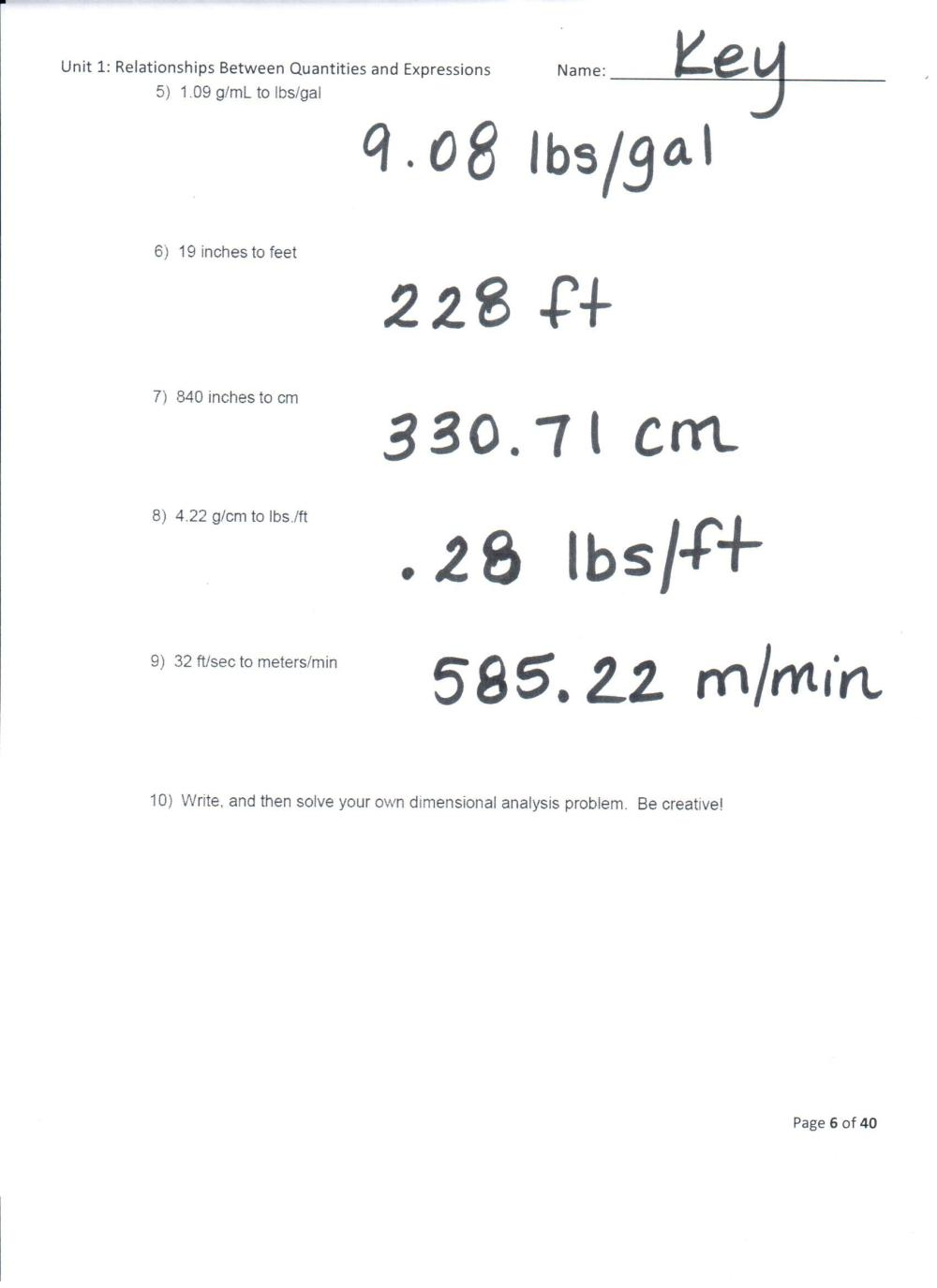 medium resolution of Dimensional Analysis Worksheet 2 Answers With Work