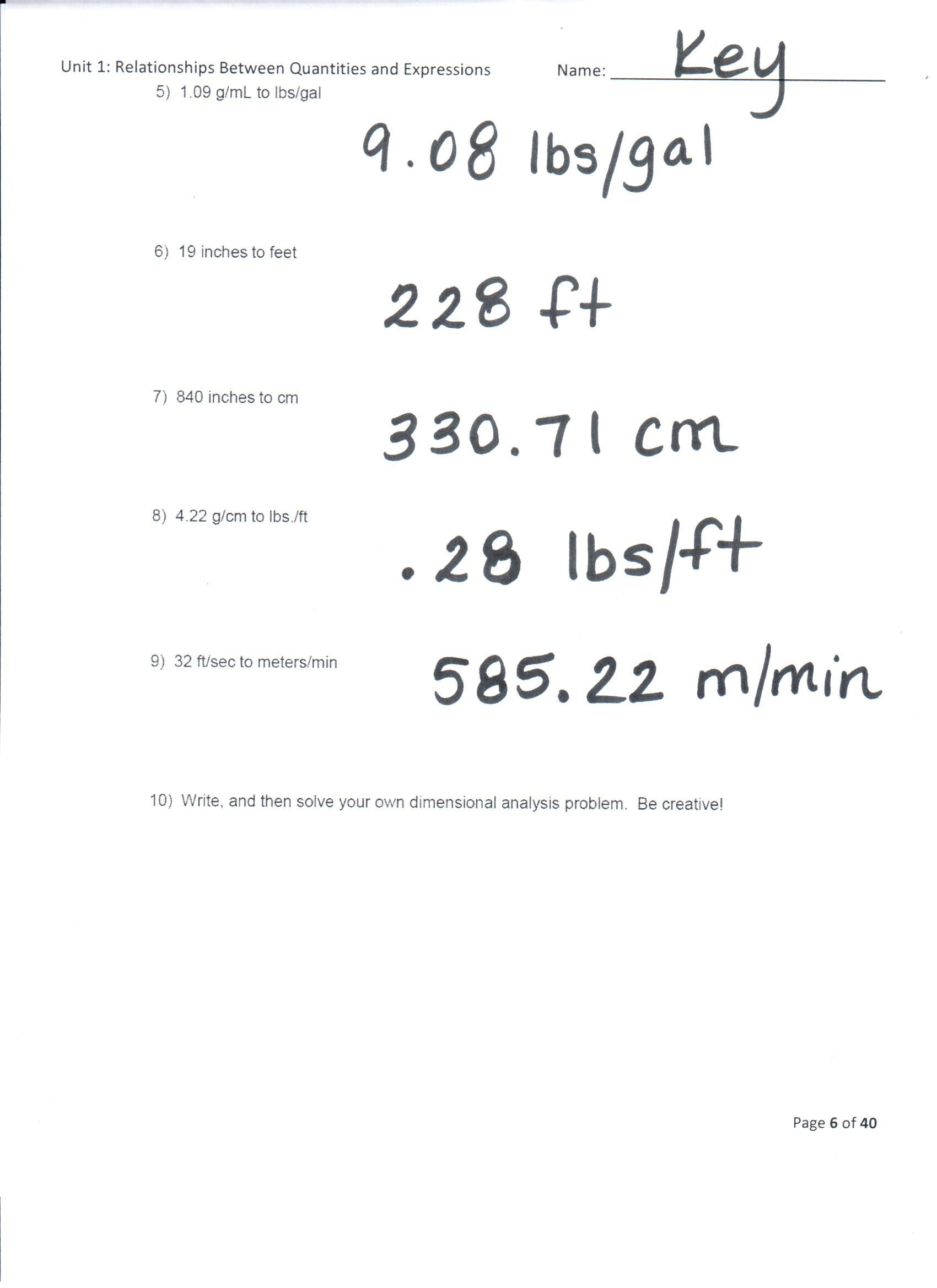 hight resolution of Dimensional Analysis Worksheet 2 Answers With Work