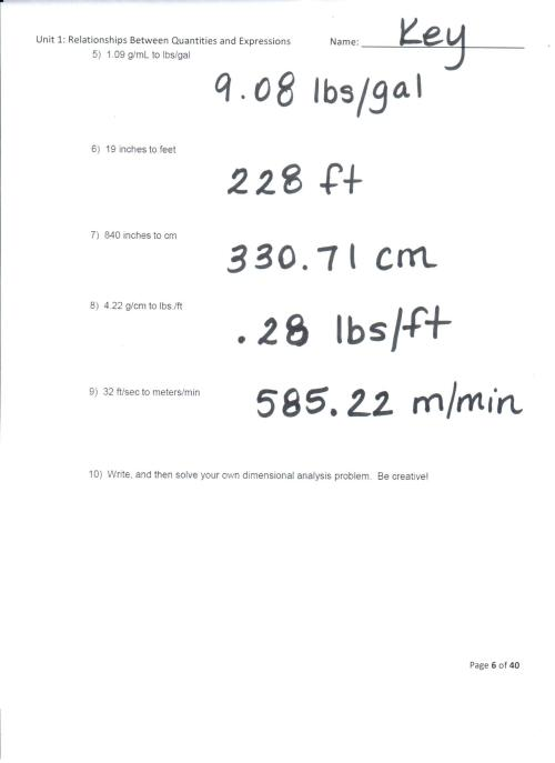 small resolution of Dimensional Analysis Worksheet 2 Answers With Work