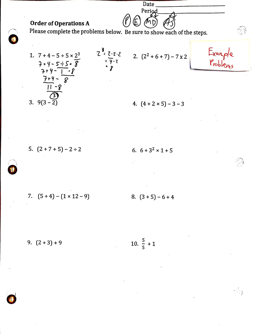 hight resolution of Homework order of operations papers writing