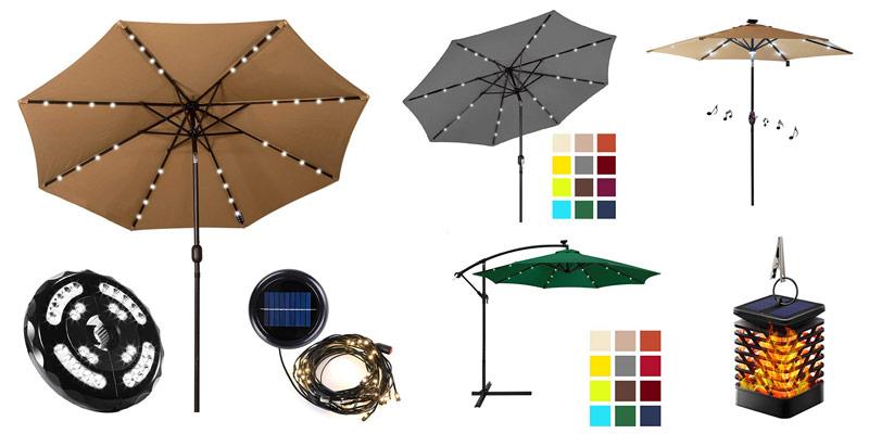 best patio umbrella with solar lights