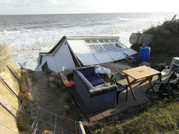 Storm damaged house in Hemsby after the December 2013 UK storm.