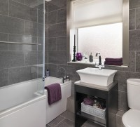 Bathroom in grey tile. Part 2 in Bathroom Tile Design