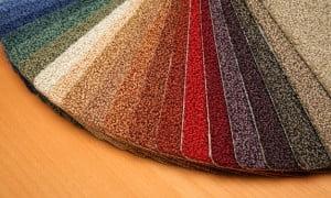 Samples of carpet coverings in shop