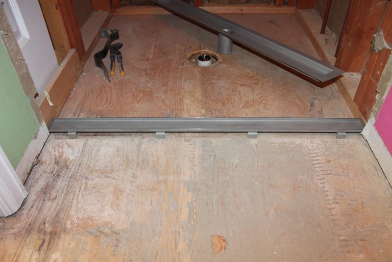 installation of laticrete linear drain