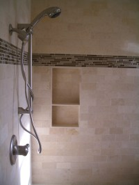 Bathroom Tile Shower Shelves : Awesome Red Bathroom Tile