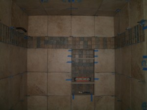 Completed tiled shower ceiling