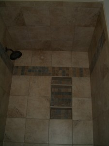 Finished tiled shower ceiling