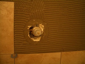 Hole cutout in shower substrate