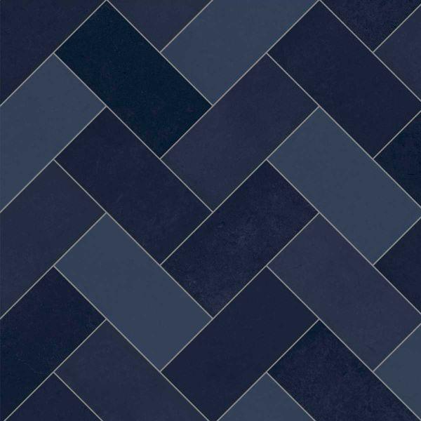 premier sheet vinyl flooring geometric navy blue herringbone tile