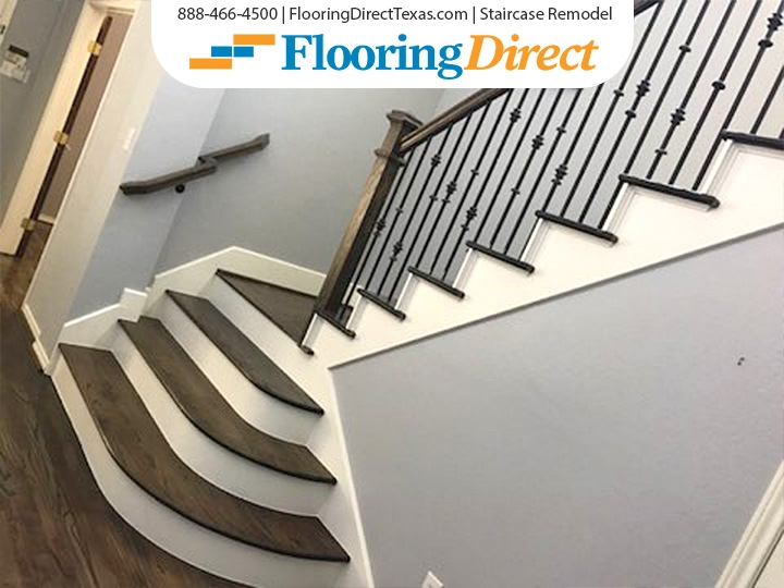 Staircase Remodel By Flooring Direct Flooring Direct   Wood Floors And Stairs Direct   Wide Plank   Floor Covering   Brazilian Cherry   Installation   Maple