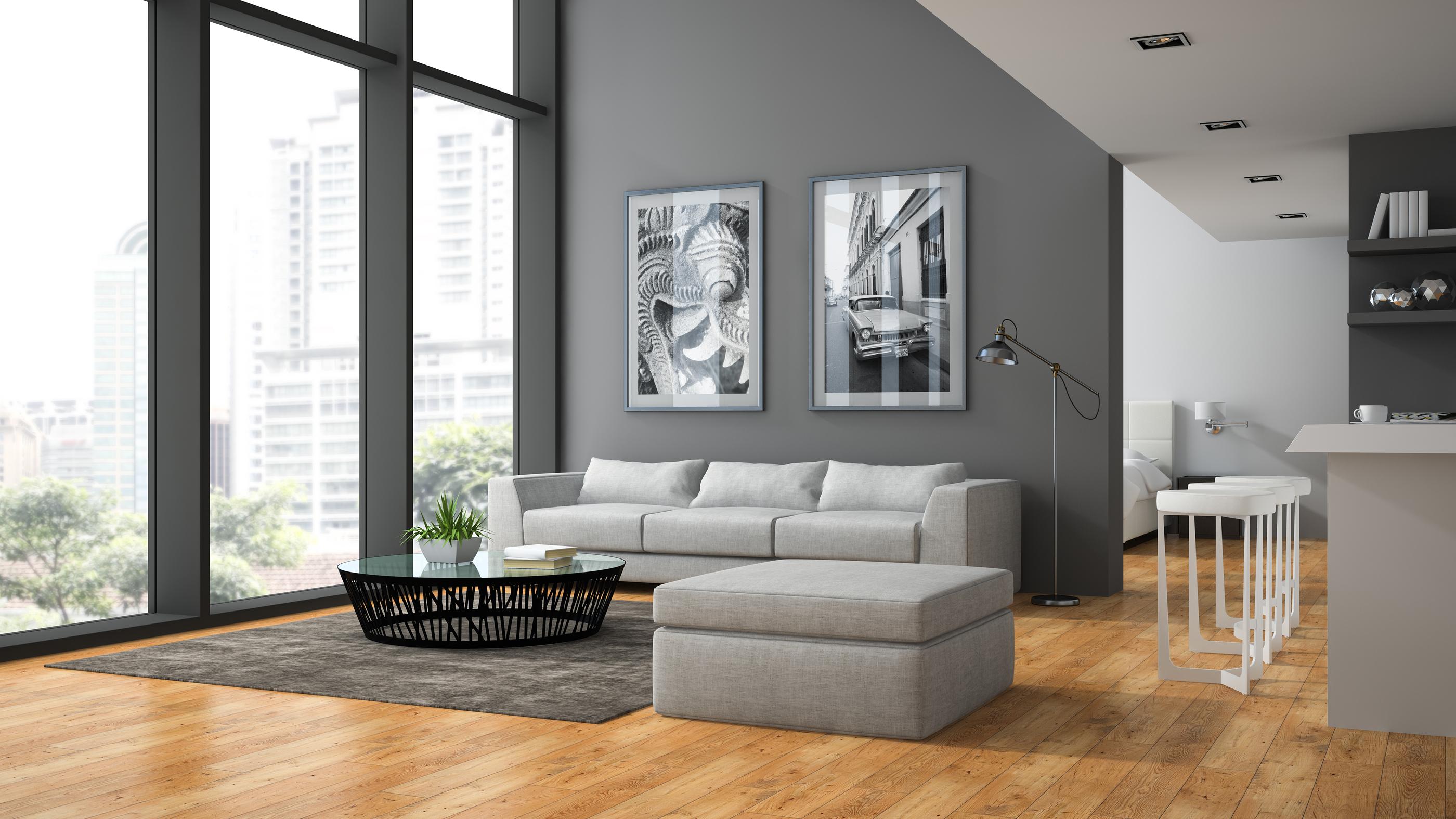 Interior of the modern design  loft with parquet floor 3D rendering