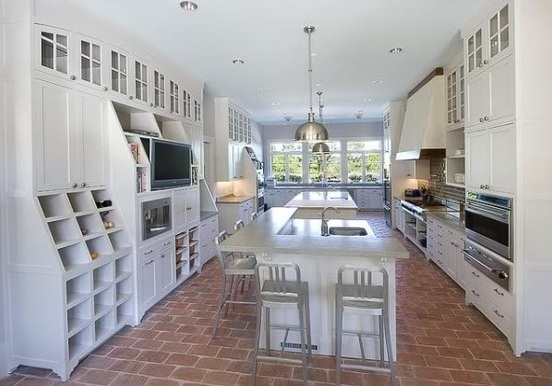 brick floor kitchen country decor themes tile flooring in modern white ideas classic and elegant style home