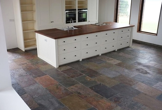 slate floor kitchen outdoor cabinets kits natural flooring on small with wooden island ideas for your house