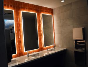 FSI commercial flooring and vanity Bathroom