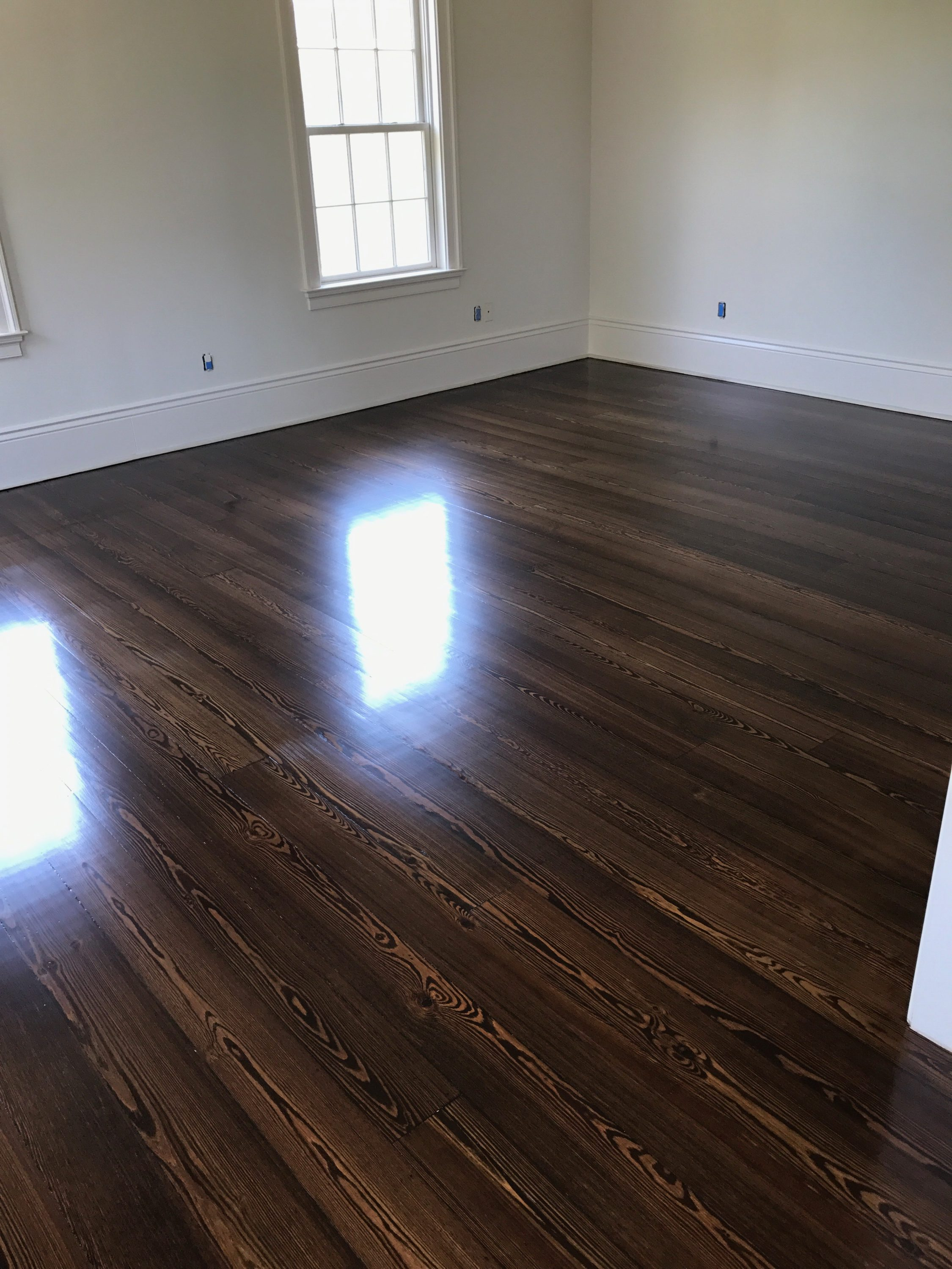Dark Stained Red Pine  FLOOR MASTERS of NEW ORLEANS