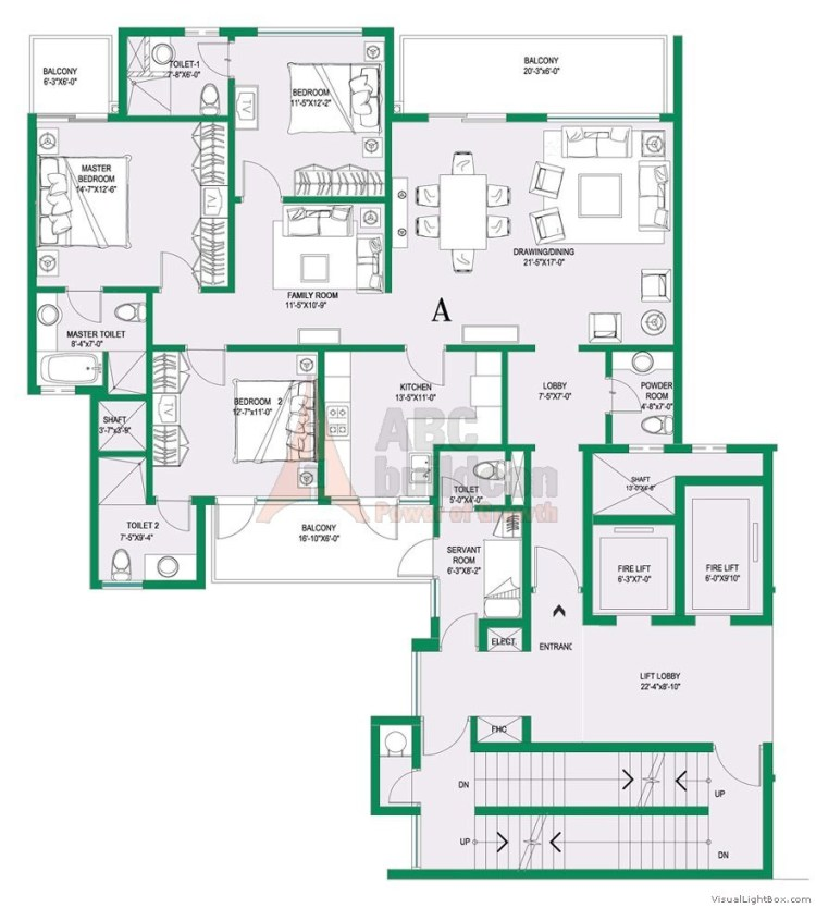 1. Central Park 2 Floor Plan 3 BHK + S.R – 2350 Sq. Ft. (Belgravia)