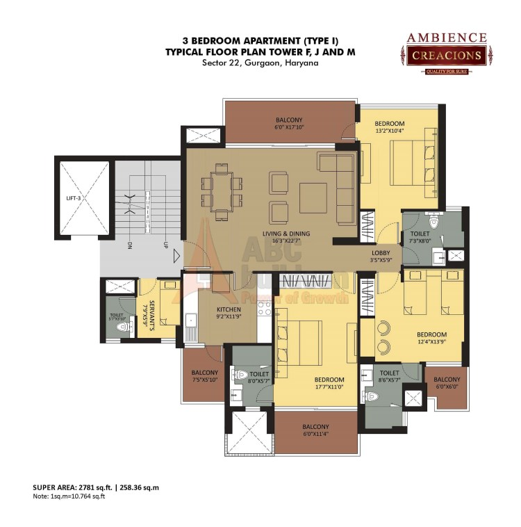 Ambience Creacions Floor Plan 3 BHK + S.R – 2781 Sq. Ft.
