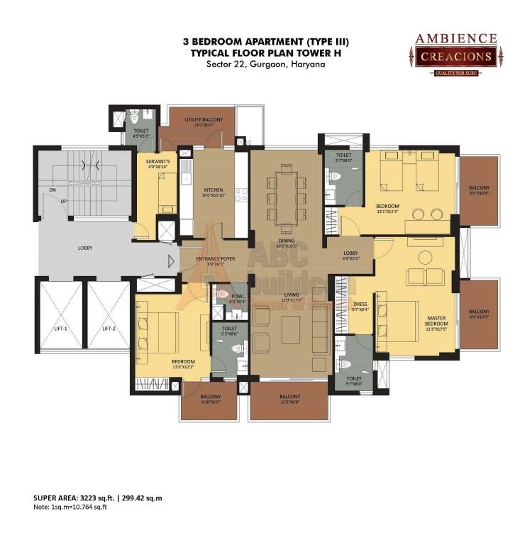 Ambience Creacions Floor Plan 3 BHK + S.R – 3223 Sq. Ft.