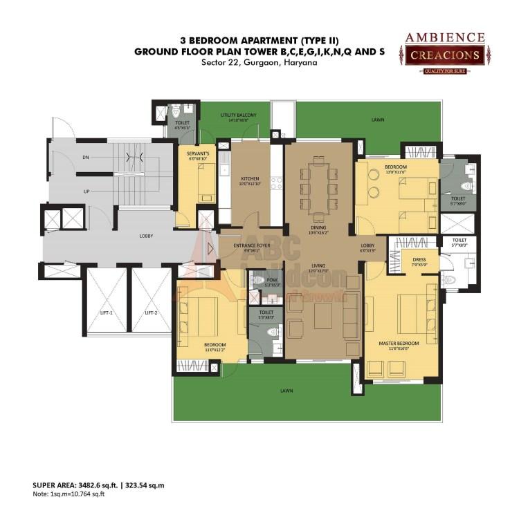 Ambience Creacions Floor Plan 3 BHK + S.R – 3482 Sq. Ft.