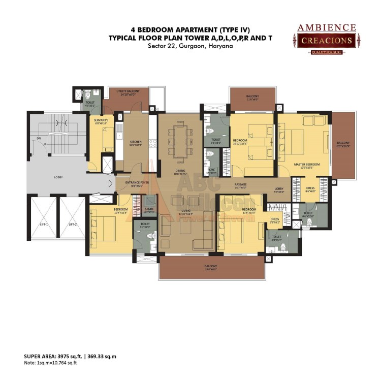 Ambience Creacions Floor Plan 4 BHK + S.R – 3975 Sq. Ft.